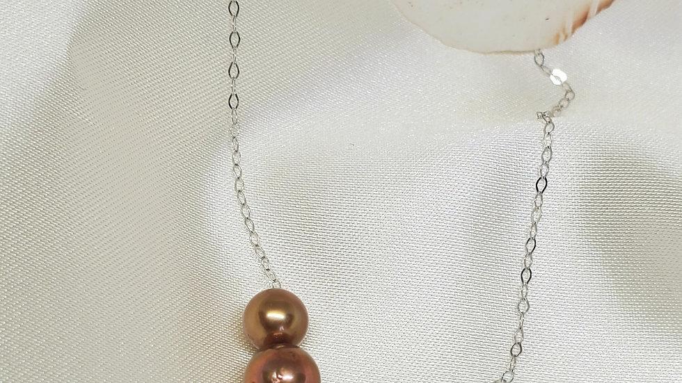 Five Pearl Multicolor Slider Necklace