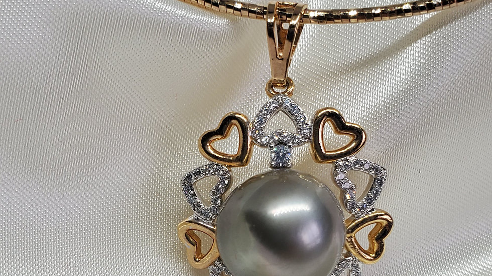 Gorgeous Gray Pearl Heart Necklace