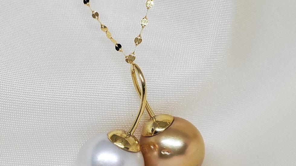 Cherry Pendant Silvery White & Golden