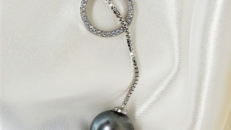 Chic Gray Lariat Necklace