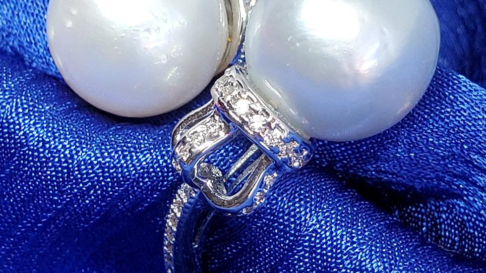 Elegant Double White Bluish Ring
