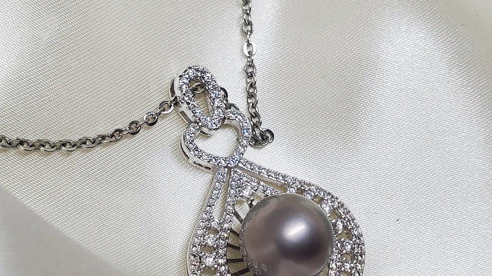 Platinum Gray Single Pearl Necklace
