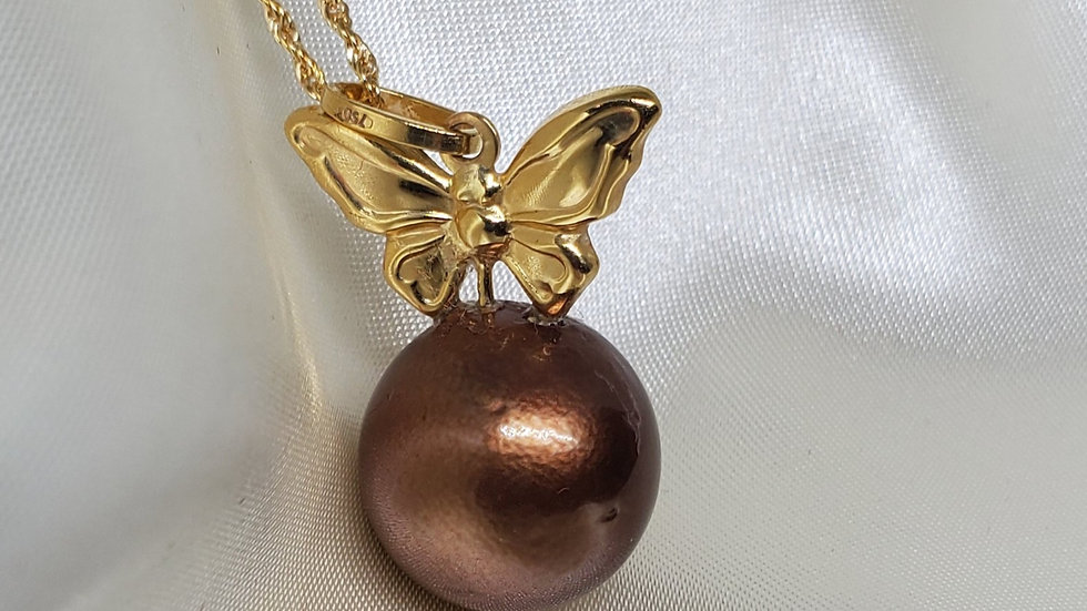 Chocolate Brown Single Pearl Butterfly Pendant