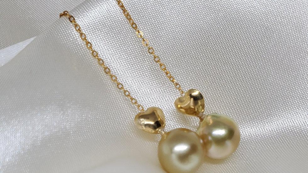 Golden Heart Pull Through Dangling Earrings