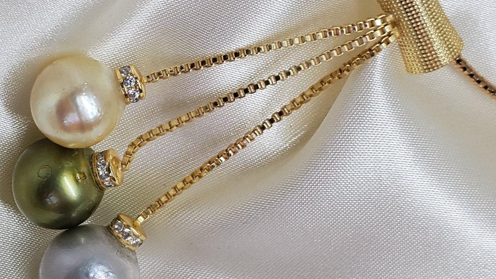Multicolored Three Pearl Lariat Necklace
