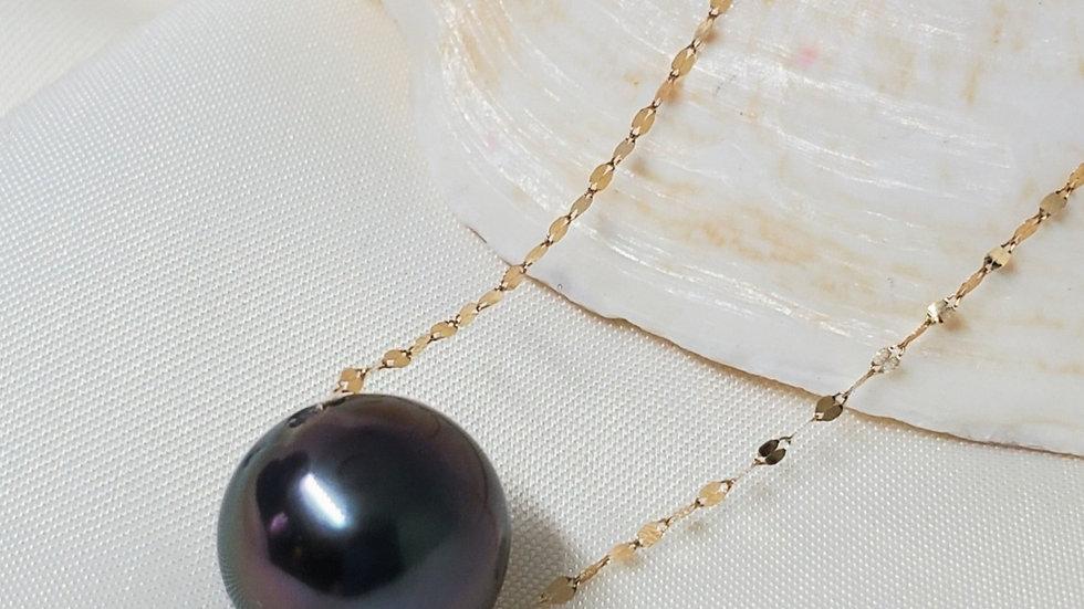 Tahitian Black Float Necklace