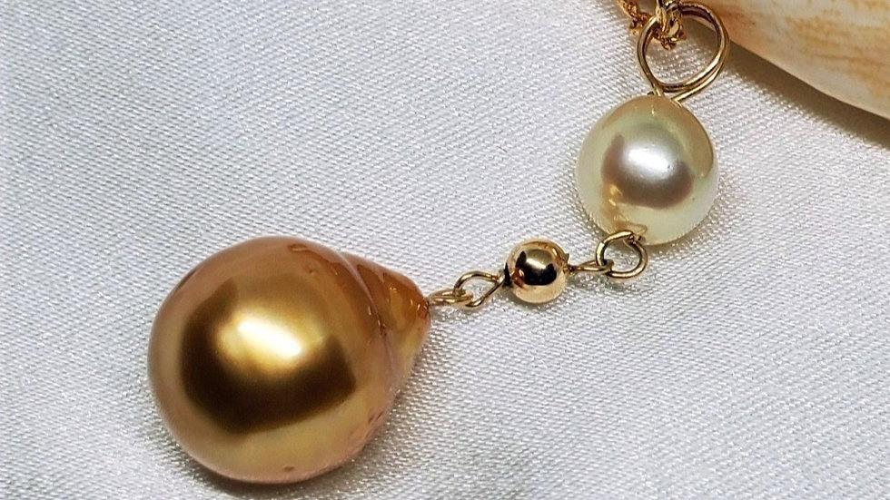 Deep Dark Golden 24 k Baroque 2 Pearl Pendant