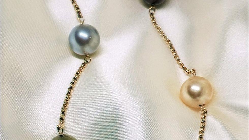 Gorgeous Multi Color Station Necklace 12-13mm