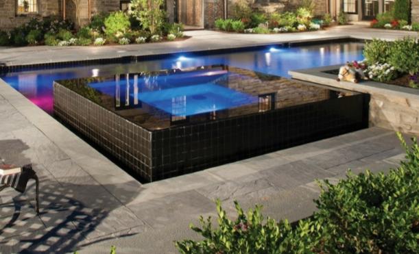 infinity high edge spa wet edge, pool lighting, swimming pool