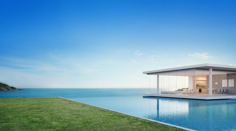 concrete pool design, entertainment area design, build pool