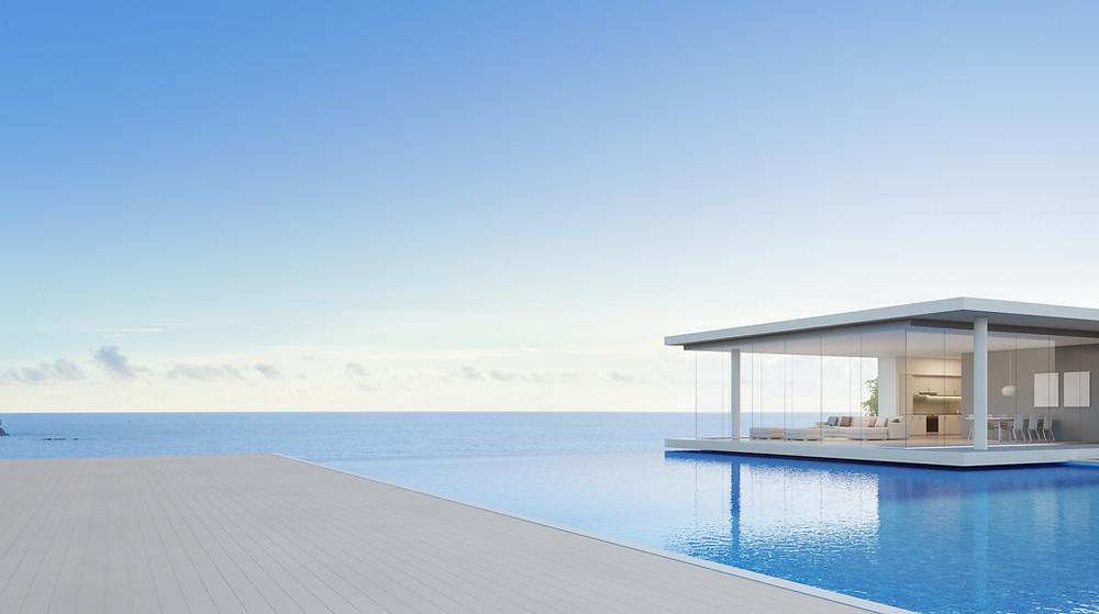 concrete pool, 3D design, entertainment areas