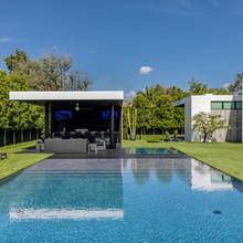 Luxury pool wet edge and cabana