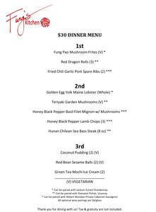 $30 Dinner Menu