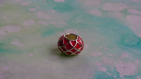 Red Enamel silver bead