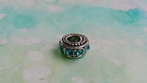 Blue sparkly jewel silver bead
