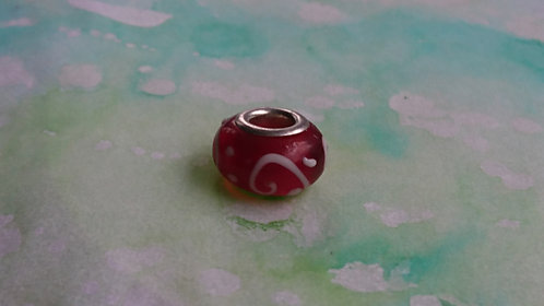 Red and White glass and silver bead