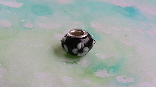 Black and silver bead