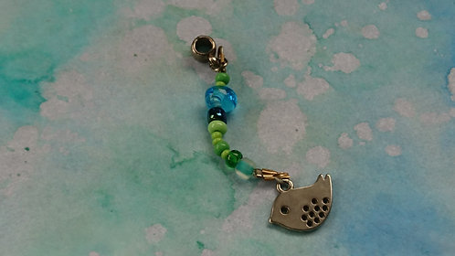 Bird Hand beaded dangle charm