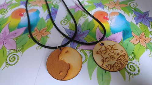 Peace and Lovebirds Laser Cut Large Pendant