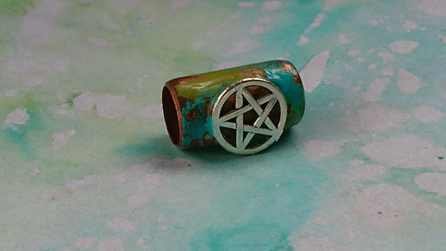 Handmade Copper tube hand painted bead Large