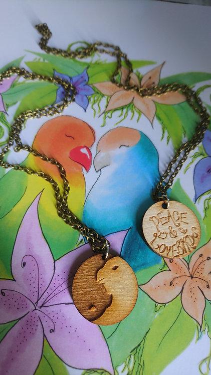 Peace and Lovebirds Laser Cut Medium Pendant