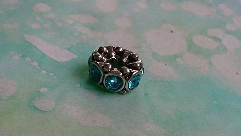 Blue Gem silver dread bead