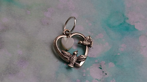 Lovebirds with shell heart Silver charm