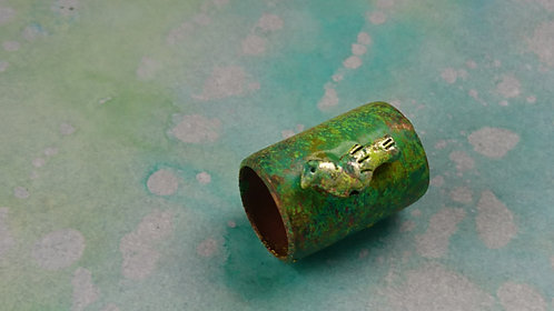 Handmade Copper tube spray painted bead Large