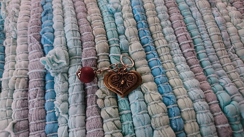 Bronze Heart and bead charm