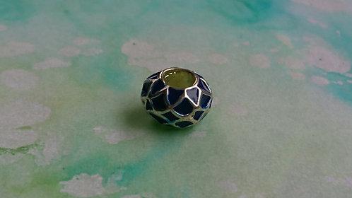 Blue Enamel  silver bead