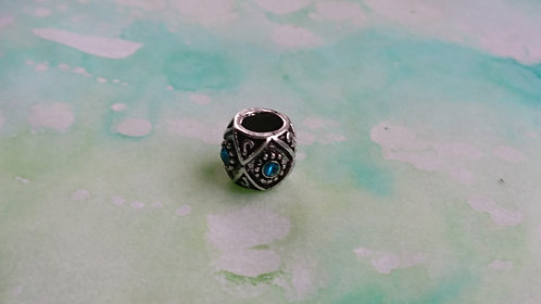 Swirl Embossed and Blue Jewelled silver bead