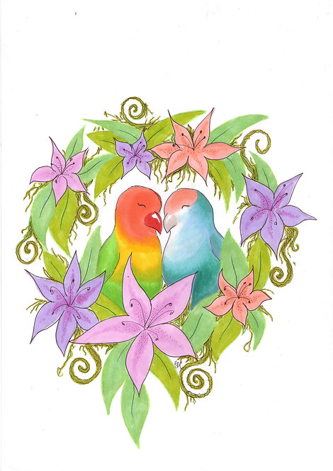 Lovebirds A4 print