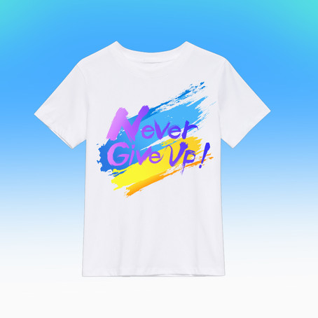 Never give up T-shirt 横浜デザイン絵画教室:レッスン101