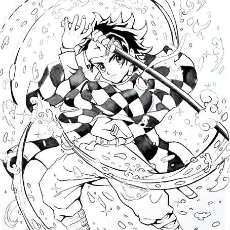 鬼滅の刃のイラスト描いてみました。 横浜絵画教室:レッスン101