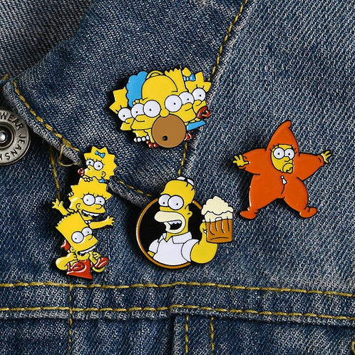 5 Styles Cartoon Enamel Pin Lisa Homer Jay Marge Brooches Pins for Friends