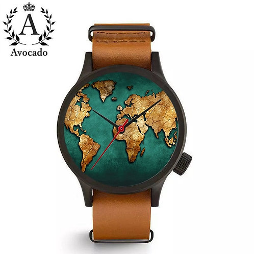 AVOCADO Fashion Brand Women Watches World Map Globe Watches