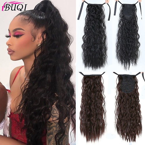 Buqi Long Curly Ponytail  Hair Extensions for Adult Women