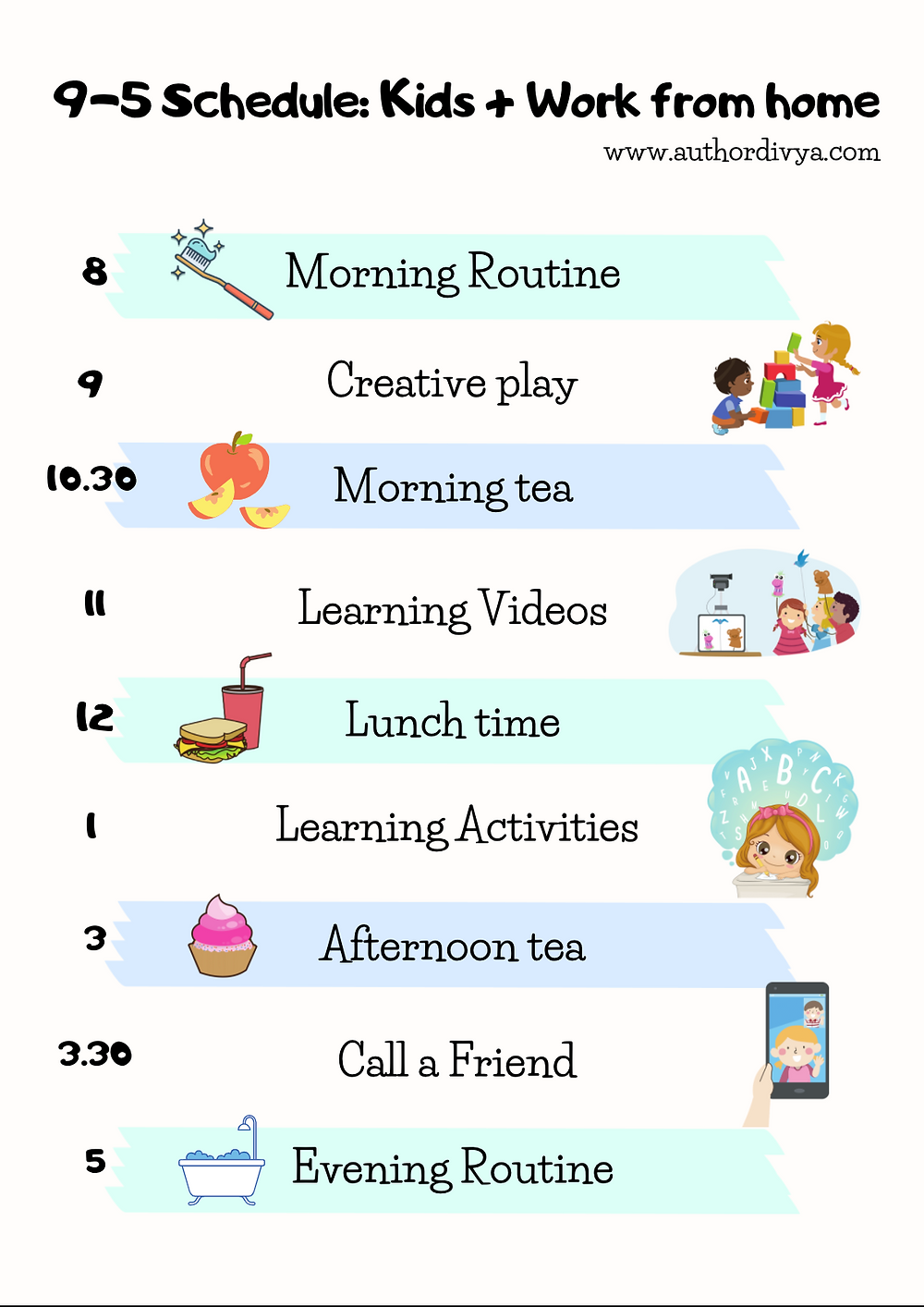 Kid's schedule for parents who work from home