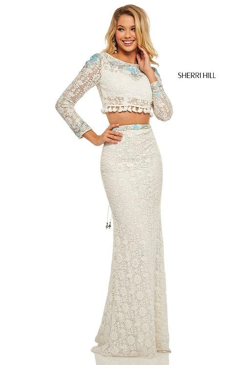 Sherri Hill -52809 Ivory/Aqua Size 00