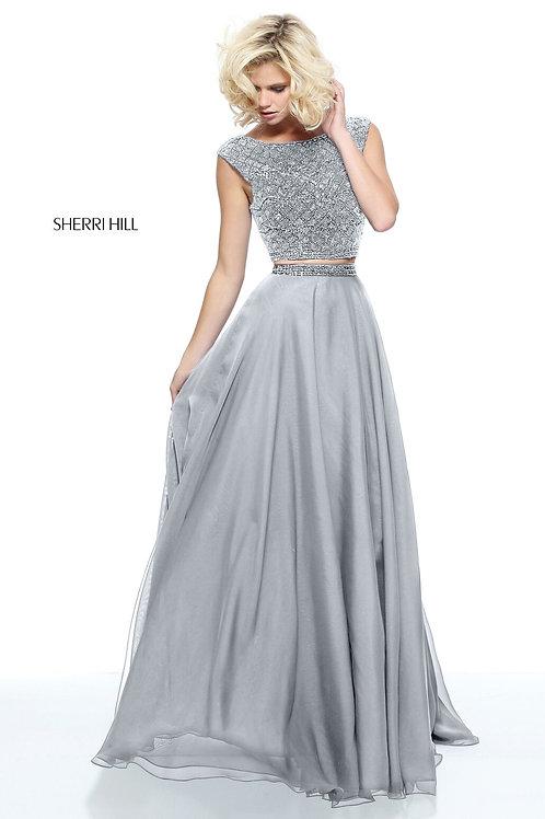 Sherri Hill - 51091 Silver Size 0