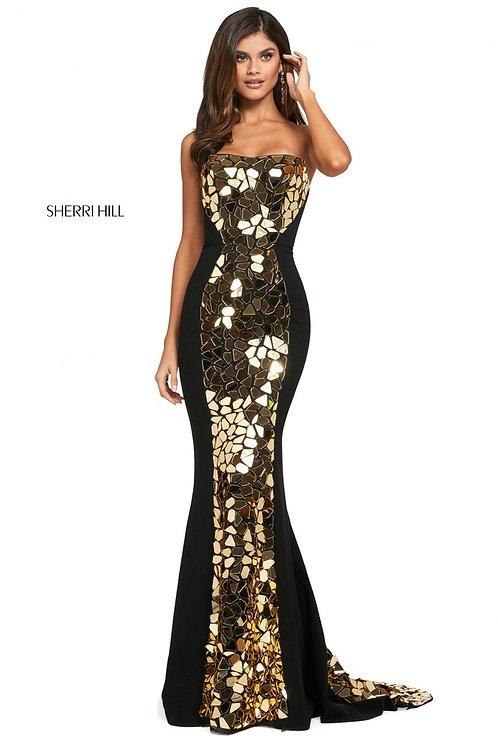 Sherri Hill - 114246 Blk/Gold Size 0