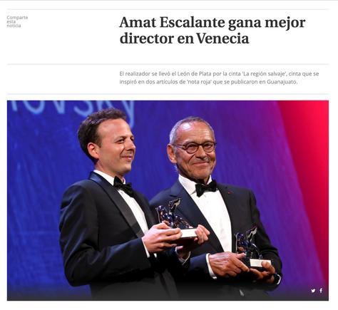 Amat Escalante gana mejor director en Venecia