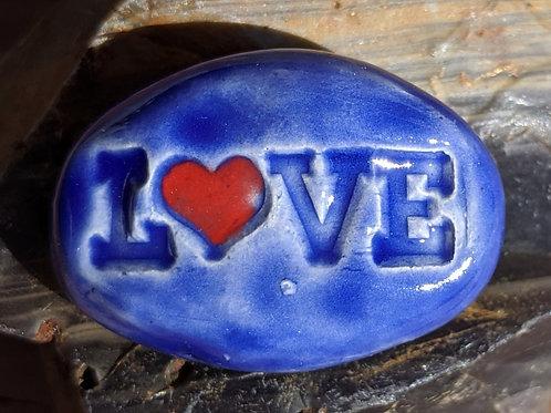 LOVE w/ HEART Pocket Stone - Midnight Blue