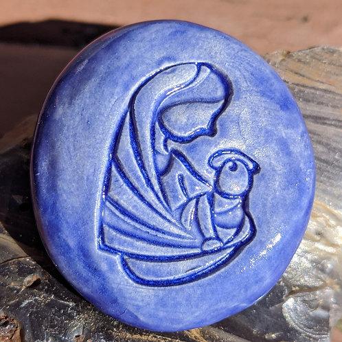 MARY & BABY JESUS Pocket Stone - Exotic Blue