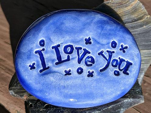 I LOVE YOU Pocket Stone - Vivid Blue