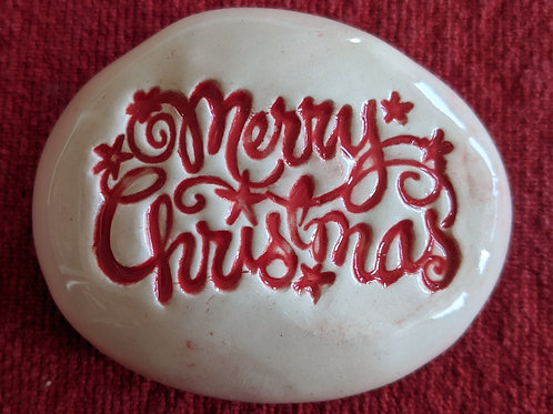 MERRY CHRISTMAS Pocket Stone - Red