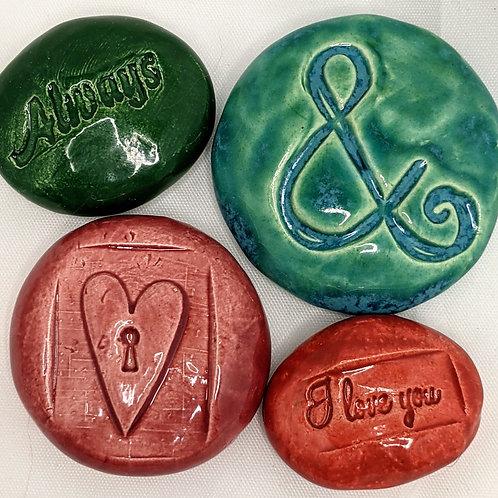WEDDING / VALENTINE Pocket Stones - Lot of 4