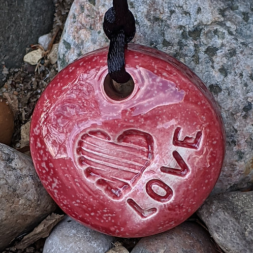 LOVE HEART Necklace - Sirocco Red
