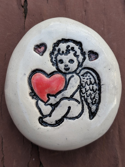 ANGEL CHERUB Pocket Stone - Hand-Painted