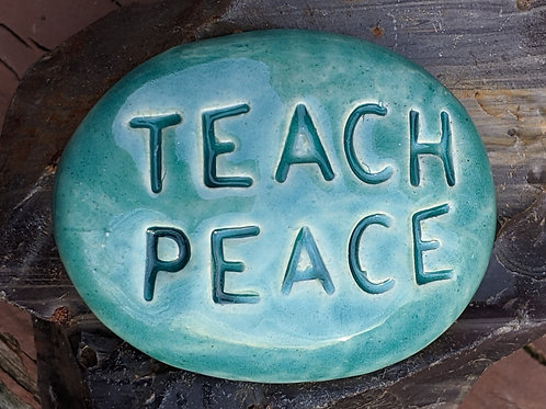 TEACH PEACE Pocket Stone - Turquoise